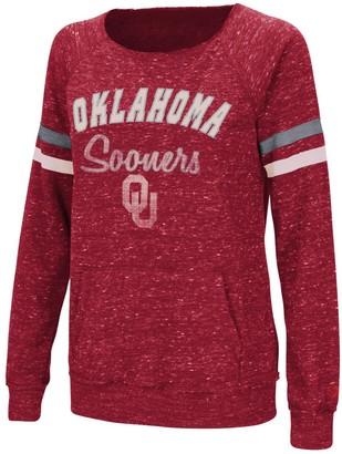 Colosseum Women's Heathered Crimson Oklahoma Sooners Stormin The Castle Raw Edge Crewneck Sweatshirt