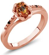 Gem Stone King 0.51 Ct Oval Ecstasy Mystic Topaz Black Diamond 14K Rose Gold Ring