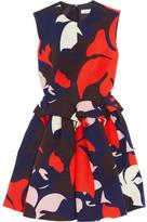 DELPOZO Printed Cotton Peplum Dress - Navy