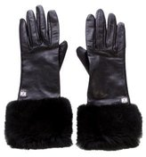 Loewe Fur-Trimmed Leather Gloves