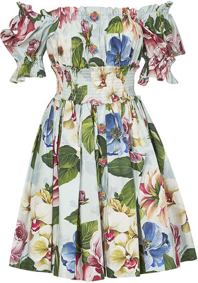 Dolce & Gabbana Floral Print Pleated Dress