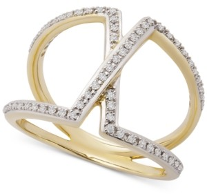 Wrapped Diamond Overlap Statement Ring (1/4 ct. t.w.) in 14k Gold, Created for Macy's