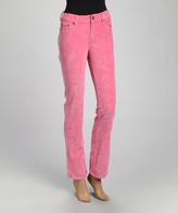 Be Girl be-girl Women's Casual Pants Light - Light Pink Corduroy Straight-Leg Pants - Women