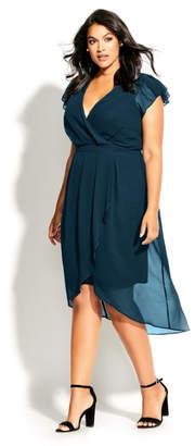 City Chic Wrap Swing Dress - emerald