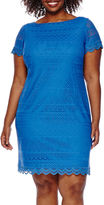 London Times London Style Collection Short-Sleeve Lace Shift Dress - Plus