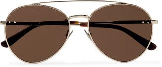 Bottega Veneta Round-Frame Engraved Gold-Tone Sunglasses