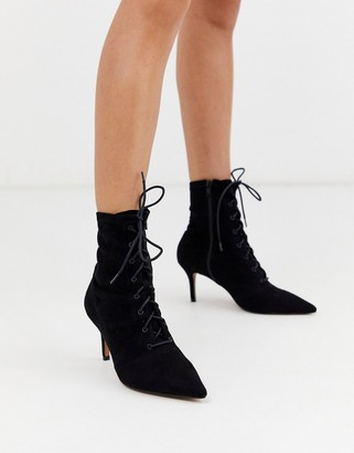 Asos Design DESIGN Respect lace up kitten heel boots in black