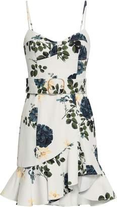 Nicholas Belted Floral-print Stretch-cotton Twill Mini Dress