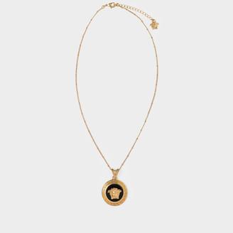 Versace Medusa Necklace In Golden Brass And Black Enamel