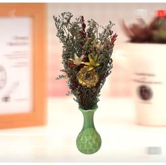 Creative Motion Handmade Dry Flowers with Ceramic Vase (Green Vase);Product Size: 11.5 x 4.5 x2.25 (vase size: 4.25 x 2.25x2.25). Gift Pack for self or friends. Event Wedding Party home office