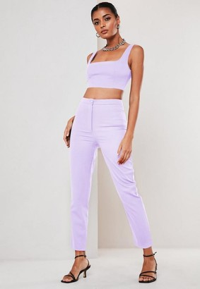 Missguided Petite Lilac Co Ord Basic Cigarette Pants