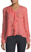 Derek Lam 10 Crosby Long-Sleeve Floral-Print Silk Chiffon Blouse