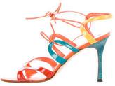 Manolo Blahnik Colorblock Lace-Up Sandals