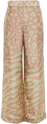 Acne Studios Printed Silk-satin Wide-leg Pants