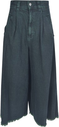 Zucca Wide-leg Frayed Cuffs Cropped Jeans