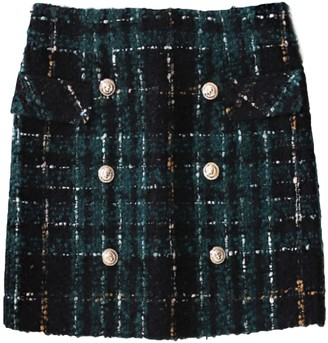 Goodnight Macaroon 'Randi' Tweed Material Plaid Mini Skirt with Buttons
