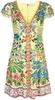 Alice + Olivia Puffed Sleeve Floral Pattern Dress
