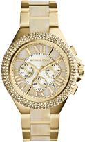 Michael Kors Mid-Size Golden Stainless Steel/Horn Camille Chronograph Glitz Watch