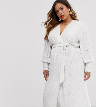 Asos EDITION Curve sequin wrap midi dress