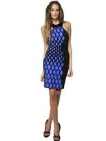 David Koma Patent Collar Printed Jersey Dress