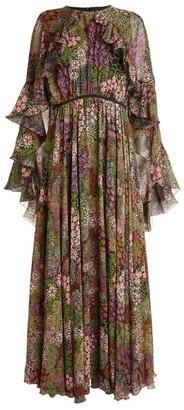 Giambattista Valli Silk Floral Cape Gown