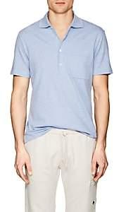 Luciano Barbera Men's Cotton-Linen Piqué Polo Shirt - Lt. Blue