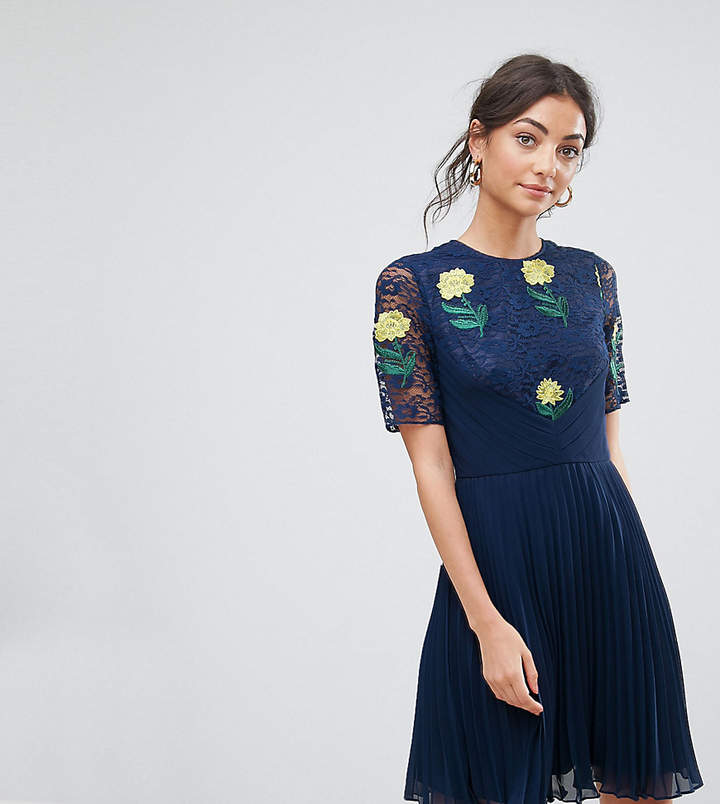 Asos Tall TALL Embroidered Mini Pleat and Lace Dress