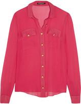 Balmain Silk-chiffon Shirt - Fuchsia