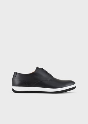 Emporio Armani Leather Oxfords With Rubber Soles