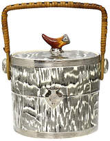 One Kings Lane Vintage 1930s Silver Shield Faux Bois Ice Bucket - Rose Victoria - black/white/multi