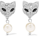 Miu Miu Silver, Swarovski Crystal And Faux Pearl Earrings - one size