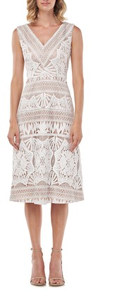 Kay Unger Priscilla Lace Midi Dress