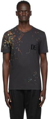 Dolce & Gabbana Black Paint Splatter T-Shirt