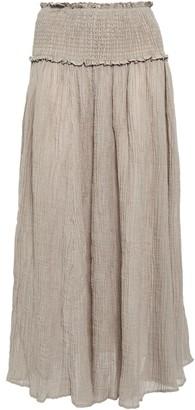 Zimmermann Melody Shirred Crinkled Gauze Midi Skirt