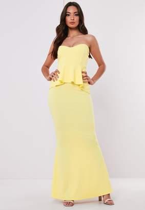 Missguided Petite Bridesmaid Lemon Sweetheart Bandeau Peplum Maxi Dress