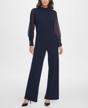 DKNY Chiffon Sleeve Mock Neck Jumpsuit