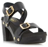 Dune Ladies ICON Double Buckle Mid Heel Sandal in Black Size UK 5