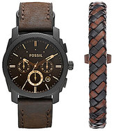 Fossil Machine Leather-Strap Watch & Bracelet Box Set