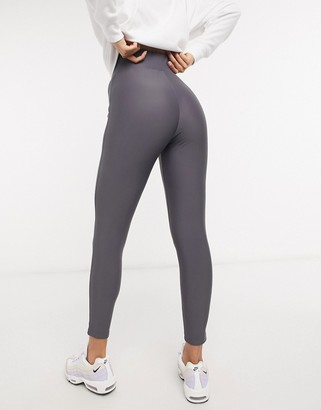 ASOS DESIGN Hourglass deep waistband legging in matte disco in blue grey
