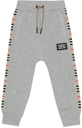 BURBERRY KIDS Icon Stripe cotton jersey trackpants