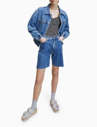 Calvin Klein Mid-Blue High Rise Denim Shorts