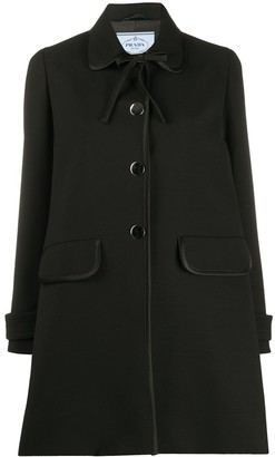 Prada piping detail single-breasted coat