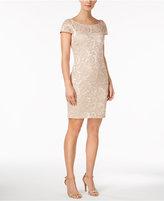 Calvin Klein Sequined Lace V-Back Dress