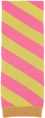 Meryll Rogge Yellow and Pink Striped Scarf