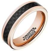 Rose Gold Tungsten Ring 6MM Wedding Band Black Carbon Fiber Inlay Polished Edge Finish Size 10 Epinki