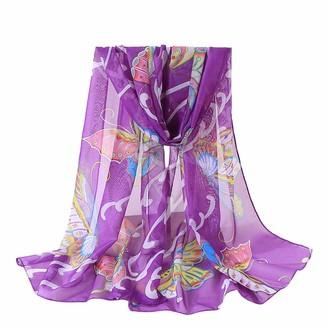 Doldoa Women's Scarfs Sale Soft Lightweight Butterflies Print Shawl Scarves for Women(Purple)