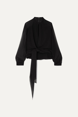Tom Ford Silk-georgette Wrap Blouse - Black