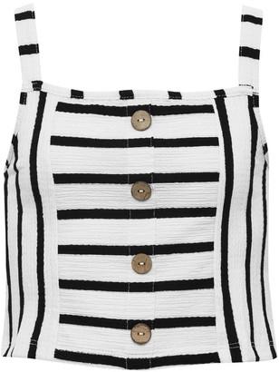 M&Co Teen striped button front vest top