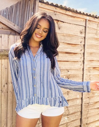 Hollister button front shirt in blue and white stripe