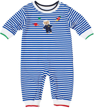 Florence Eiseman Astronaut Bear Applique Stripe Coverall, Size 3-24 Months